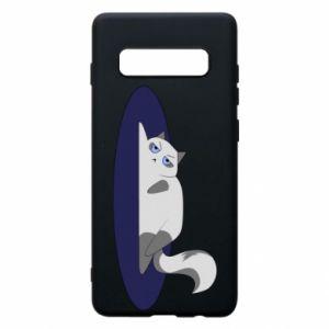 Phone case for Samsung S10+ Tired cat - PrintSalon
