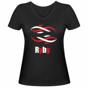 Damska koszulka V-neck Znak zodiaku Ryby