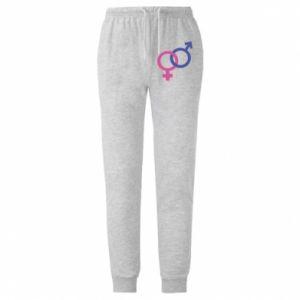 """Męskie spodnie lekkie Znaki """"On"""" i """"Ona"""" ze sobą połączone"""