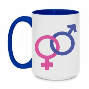 """Two-toned mug 450ml The signs """"He"""" and """"She"""" are connected"""