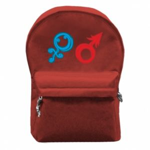 """Backpack with front pocket Signs """"He"""" and """"She"""""""
