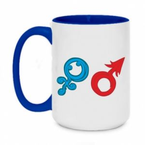 "Two-toned mug 450ml Signs ""He"" and ""She"""