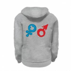 "Kid's zipped hoodie % print% Signs ""He"" and ""She"""