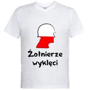 Men's V-neck t-shirt Cursed soldiers - flag of Poland - PrintSalon