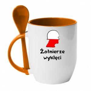Mug with ceramic spoon Cursed soldiers - flag of Poland - PrintSalon