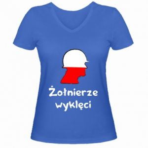 Women's V-neck t-shirt Cursed soldiers - flag of Poland - PrintSalon