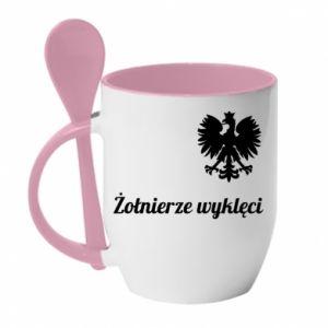 Kubek z ceramiczną łyżeczką Polska. Żołnierze wyklęci