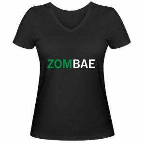 Women's V-neck t-shirt Zombae - PrintSalon