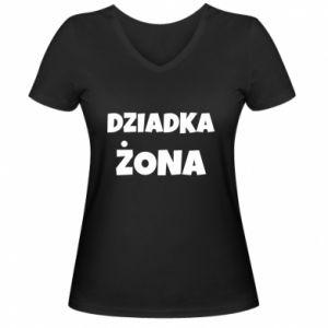 Women's V-neck t-shirt Grandfather's wife - PrintSalon