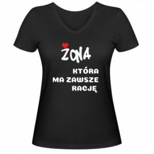 Women's V-neck t-shirt A wife who is always right - PrintSalon