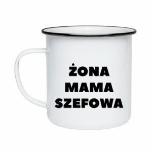 Kubek emaliowane Żona Mama Szefowa napis