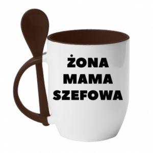 Kubek z ceramiczną łyżeczką Żona Mama Szefowa napis