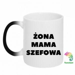 Kubek-kameleon Żona Mama Szefowa napis