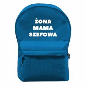 Plecak z przednią kieszenią Żona Mama Szefowa napis