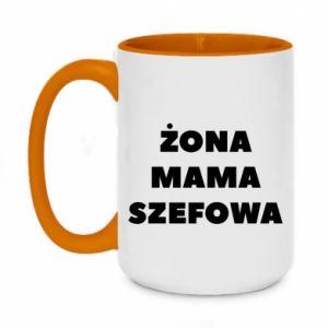 Kubek dwukolorowy 450ml Żona Mama Szefowa napis