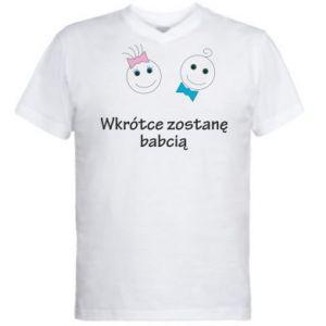 Męska koszulka V-neck Zostanę babcią - PrintSalon