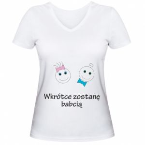 Damska koszulka V-neck Zostanę babcią - PrintSalon
