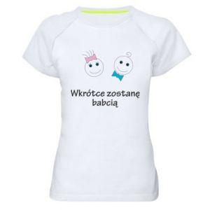 Damska koszulka sportowa Zostanę babcią - PrintSalon