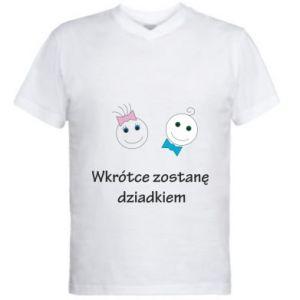 Men's V-neck t-shirt Zostanę dziadkiem