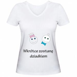 Damska koszulka V-neck Zostanę dziadkiem - PrintSalon