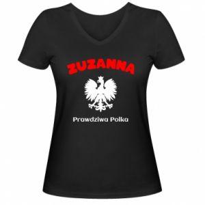 Women's V-neck t-shirt Susan is a real Pole - PrintSalon