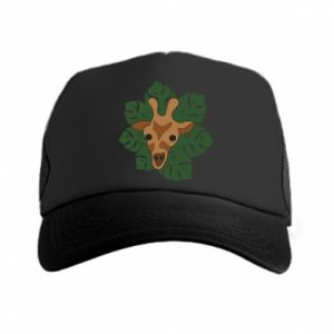 Trucker hat Giraffe in monstera leaves