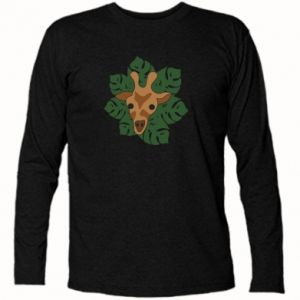 Long Sleeve T-shirt Giraffe in monstera leaves