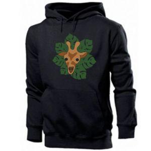 Men's hoodie Giraffe in monstera leaves