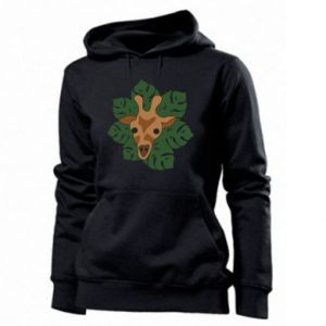Women's hoodies Giraffe in monstera leaves