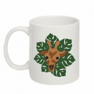 Mug 330ml Giraffe in monstera leaves