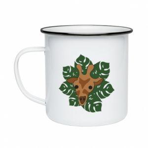 Enameled mug Giraffe in monstera leaves