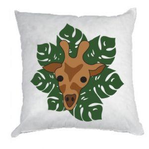 Pillow Giraffe in monstera leaves