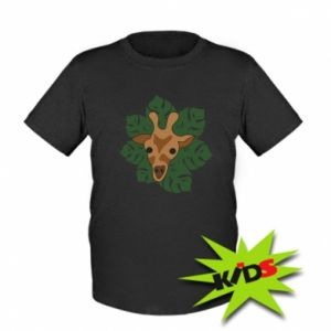 Kids T-shirt Giraffe in monstera leaves