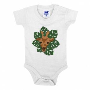 Baby bodysuit Giraffe in monstera leaves