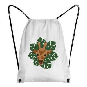 Backpack-bag Giraffe in monstera leaves