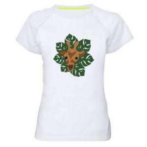 Women's sports t-shirt Giraffe in monstera leaves