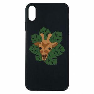 iPhone Xs Max Case Giraffe in monstera leaves