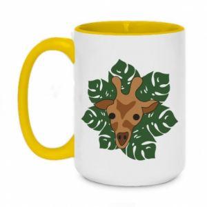 Two-toned mug 450ml Giraffe in monstera leaves