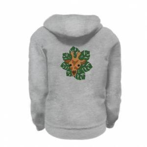 Kid's zipped hoodie % print% Giraffe in monstera leaves