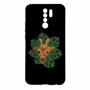 Xiaomi Redmi 9 Case Giraffe in monstera leaves