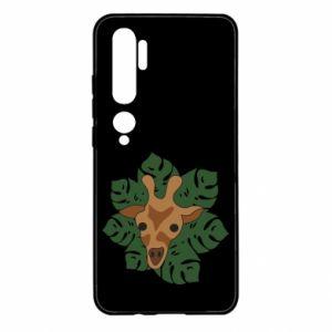 Xiaomi Mi Note 10 Case Giraffe in monstera leaves