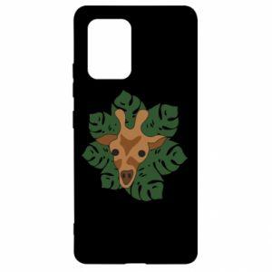 Samsung S10 Lite Case Giraffe in monstera leaves