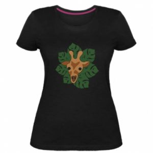 Women's premium t-shirt Giraffe in monstera leaves